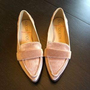 Sole Society Pink Velvet Edie Loafers